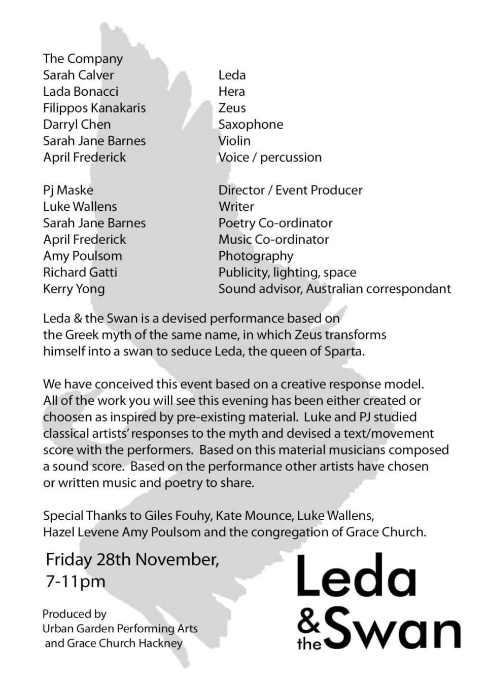 Leda & the Swan - Program